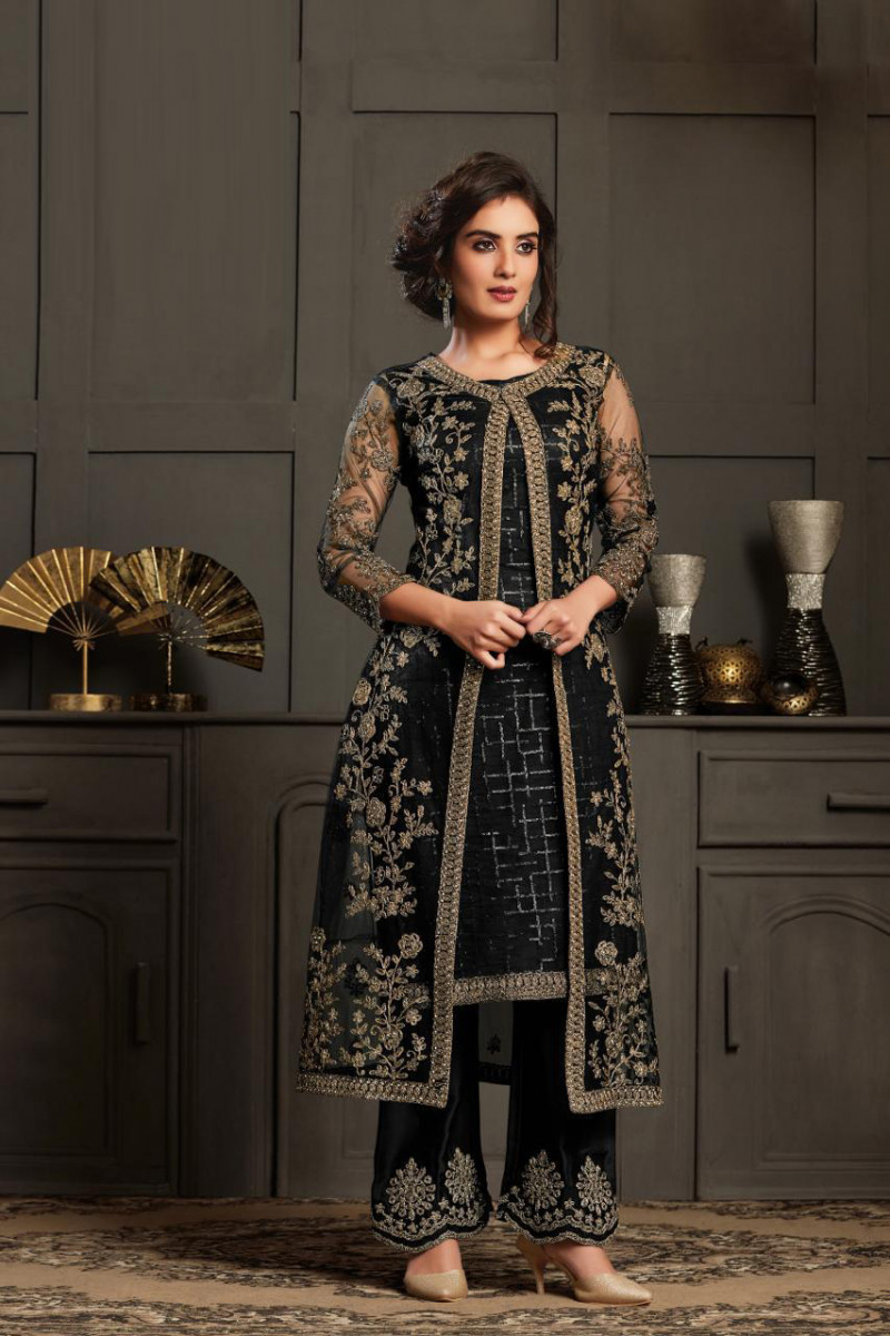 Latest Designer Black Palazzo Suit For Party Wear