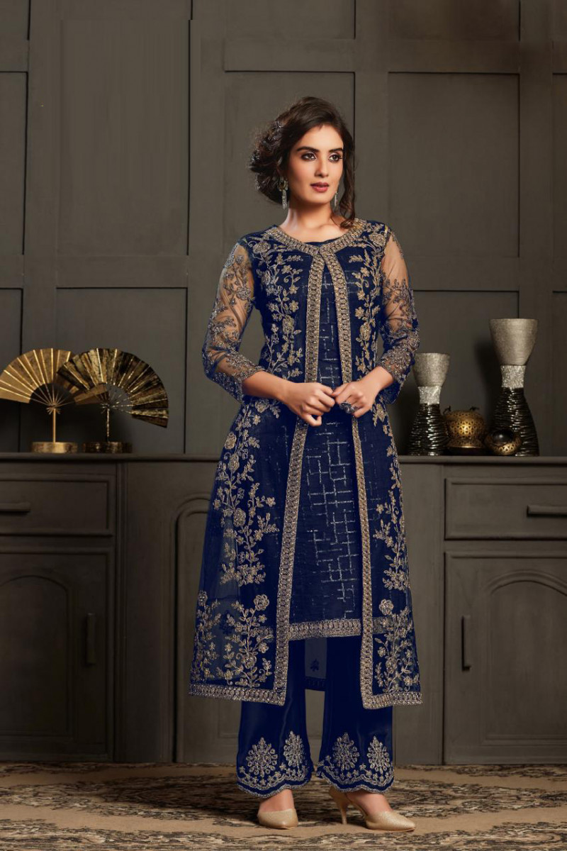 Latest Party Wear Blue Palazzo Suit For Women