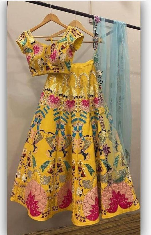 Wedding Yellow Silk Lehenga Choli For Haldi Rasam