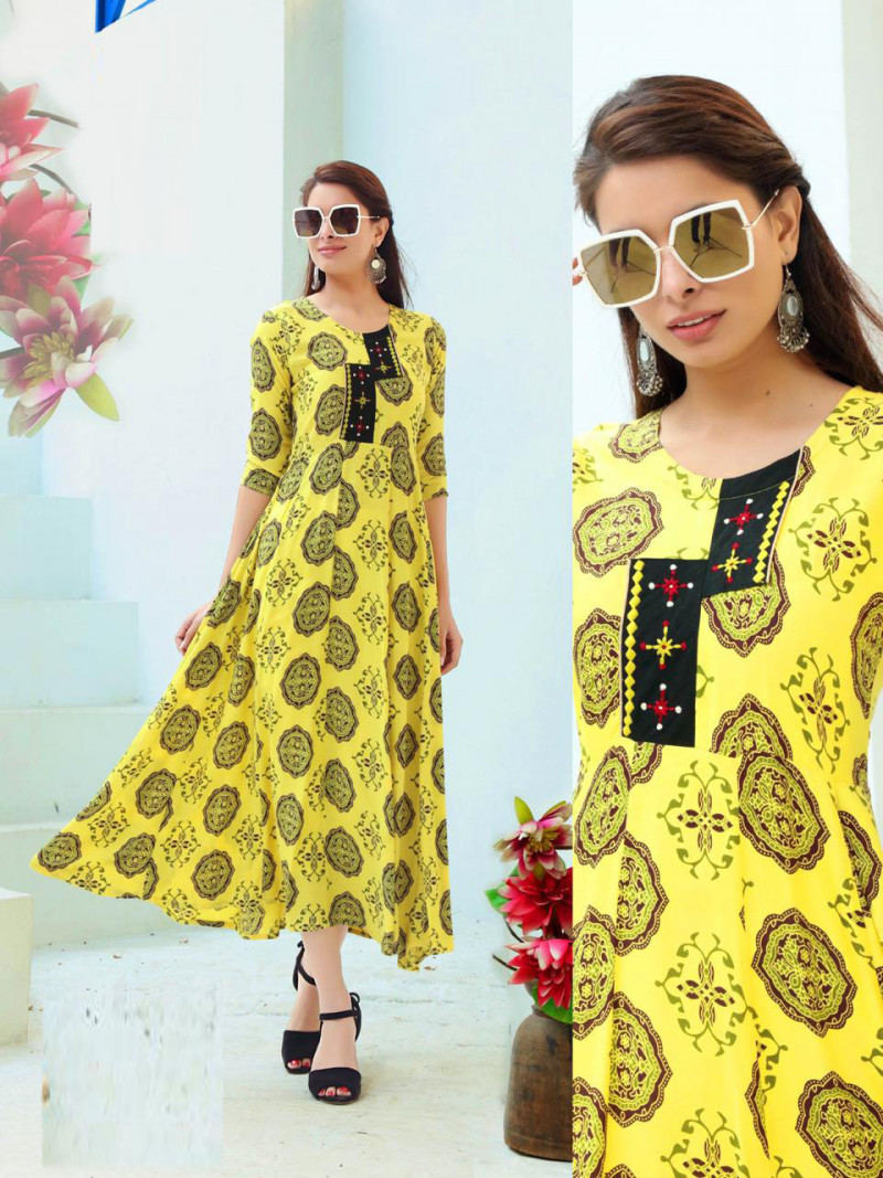 Simple Yellow Fancy Kurti