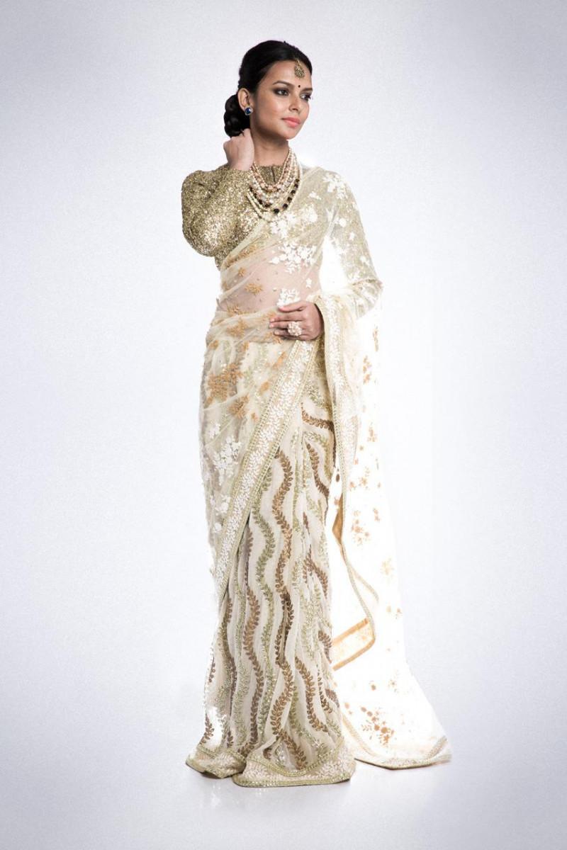 Designer Off White Sequin  Saree