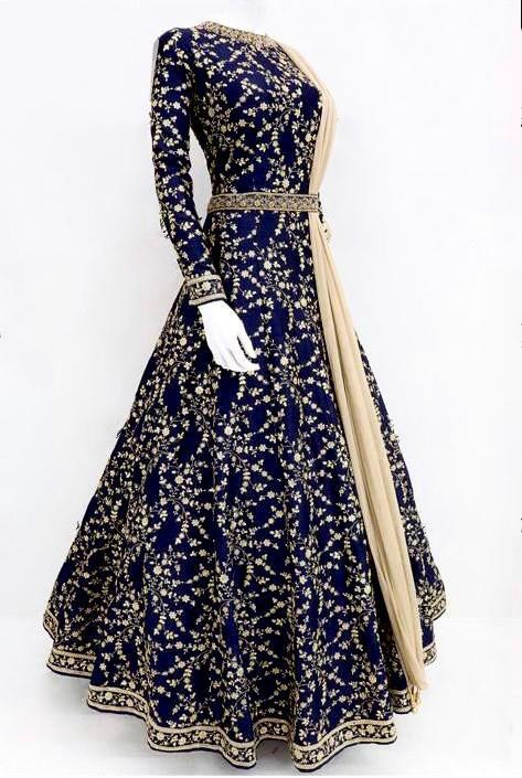 Party Wear Blue Taffeta Silk Long Gown For Onlion