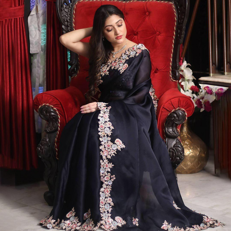 Party Wear Navy Blue Saree
