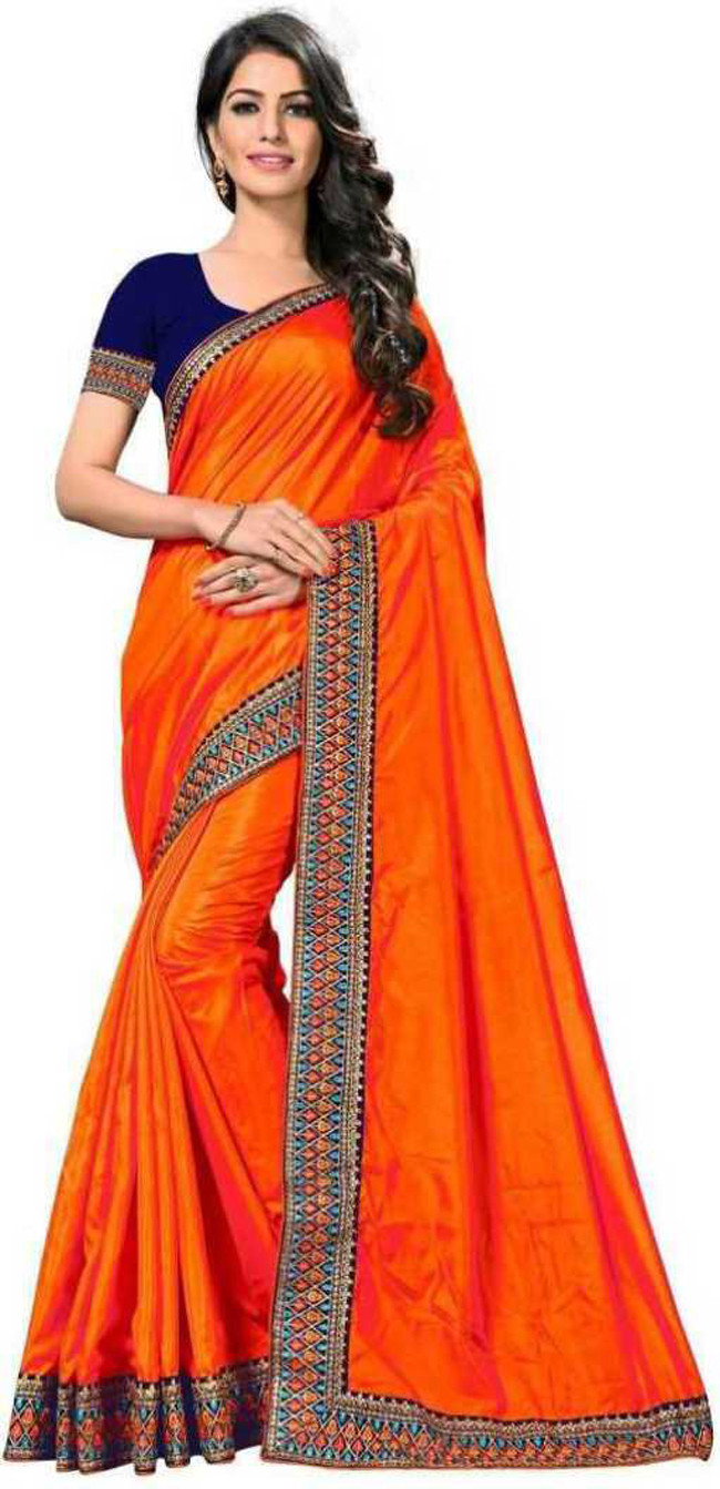 Classy Orange Party Wear Saree With Blouse