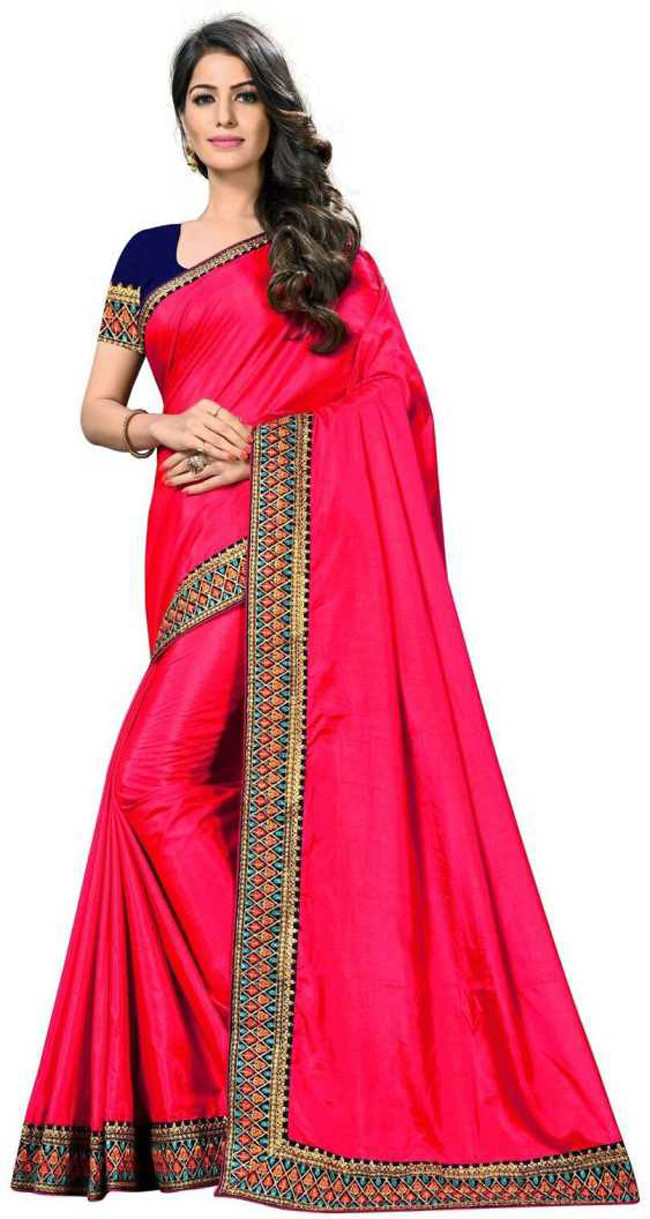 Amazing Pink Party Wear Saree With Contrast Blouse
