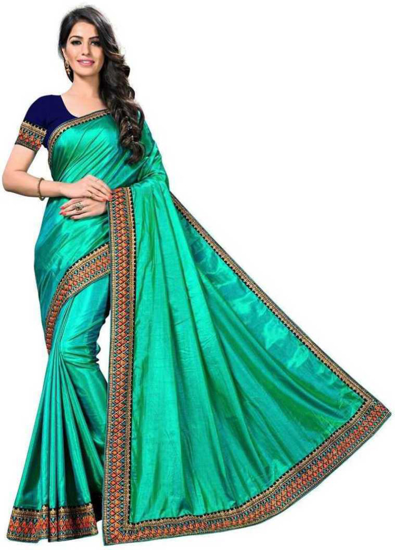 Stylist Rama Color Saree With Blouse