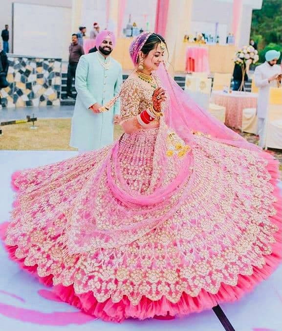 Designer Light Pink Ruffle Wedding Lehenga Choli For Bridal