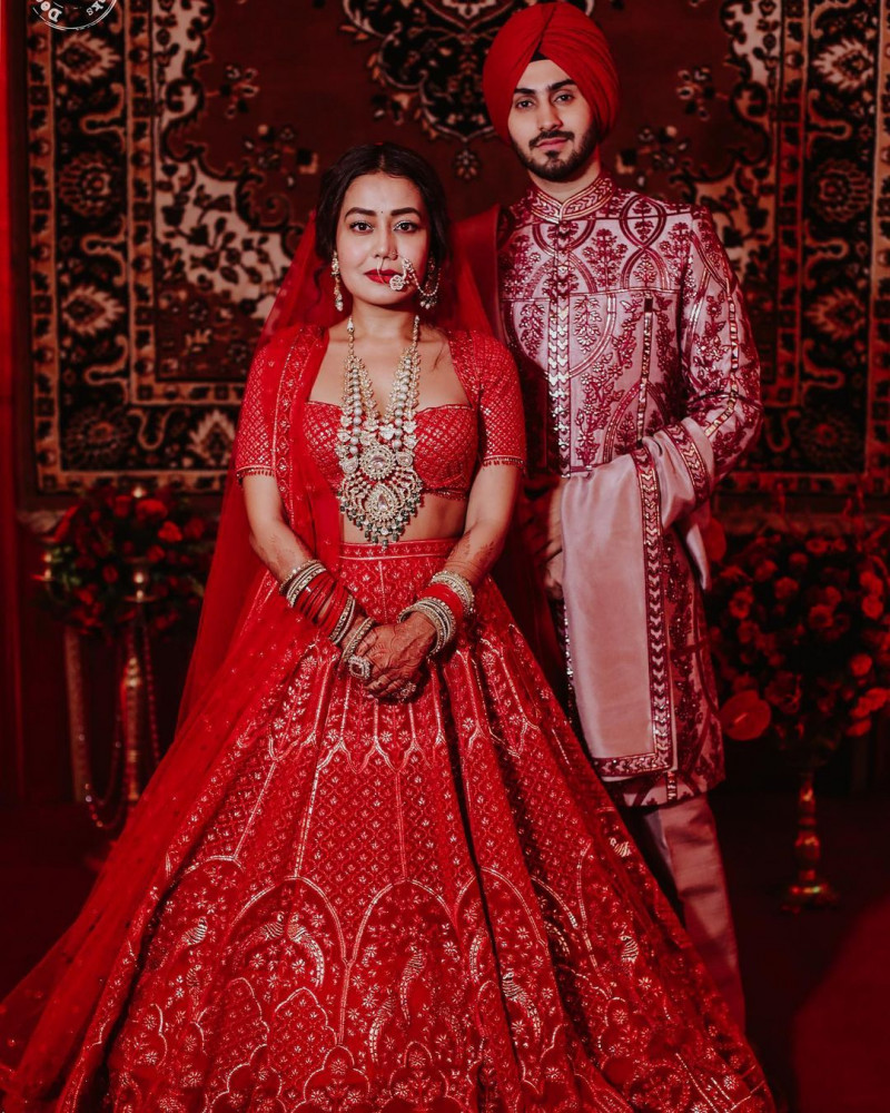 Bollywood Style Red Neha Kakkar Bridal Wear Lehenga Choli 2021
