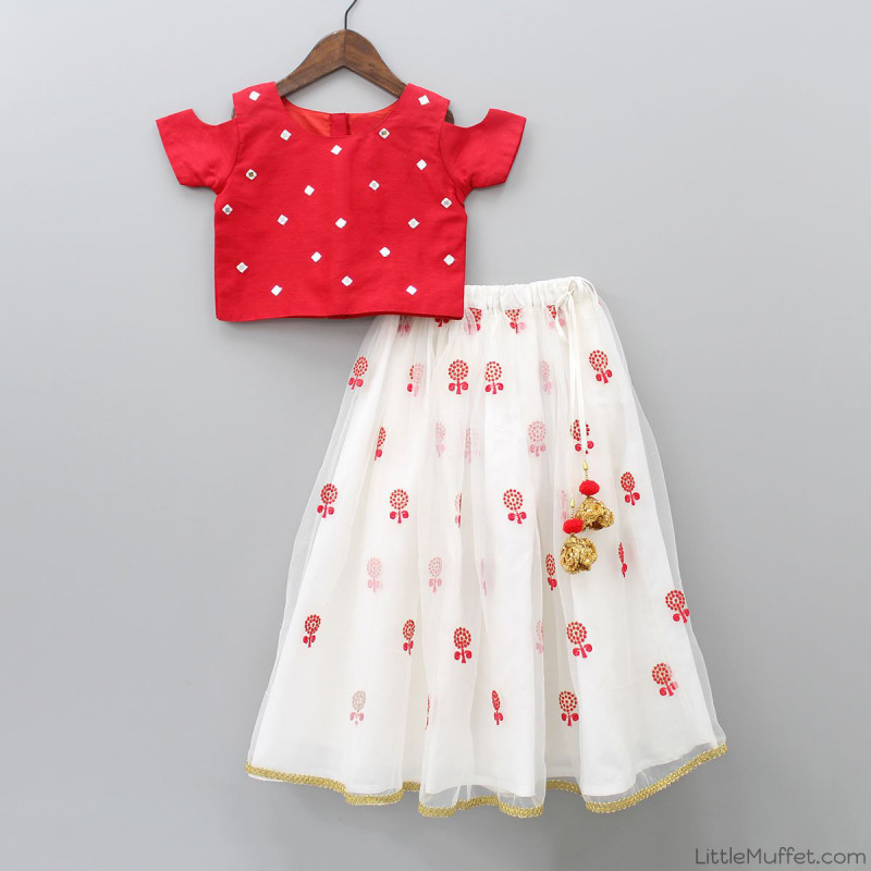 Latest Designer Red Crop Top For Kids Wear Baby Girl