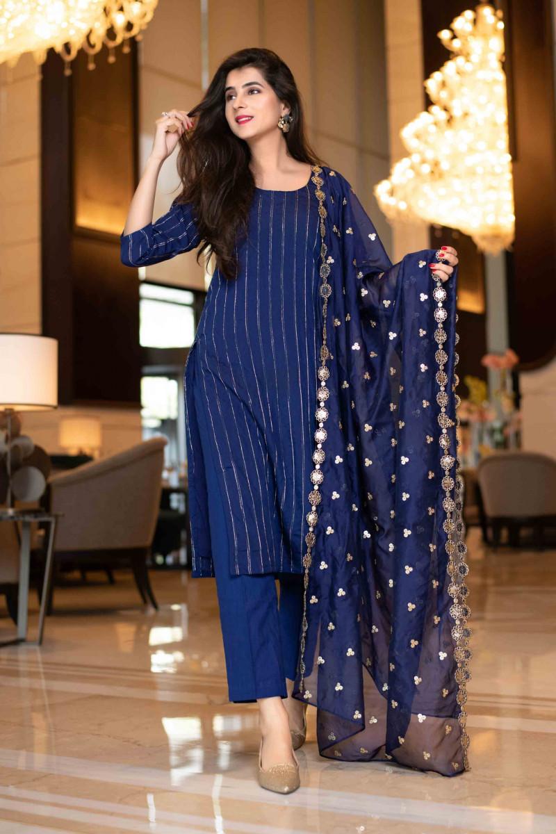 Stylist Blue Sequence Work Salwar Suit 2021