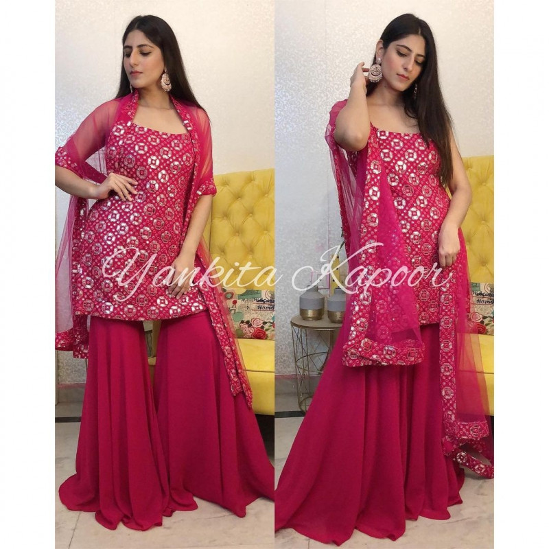 Latest Party Wear Pink Sharara Suit Online