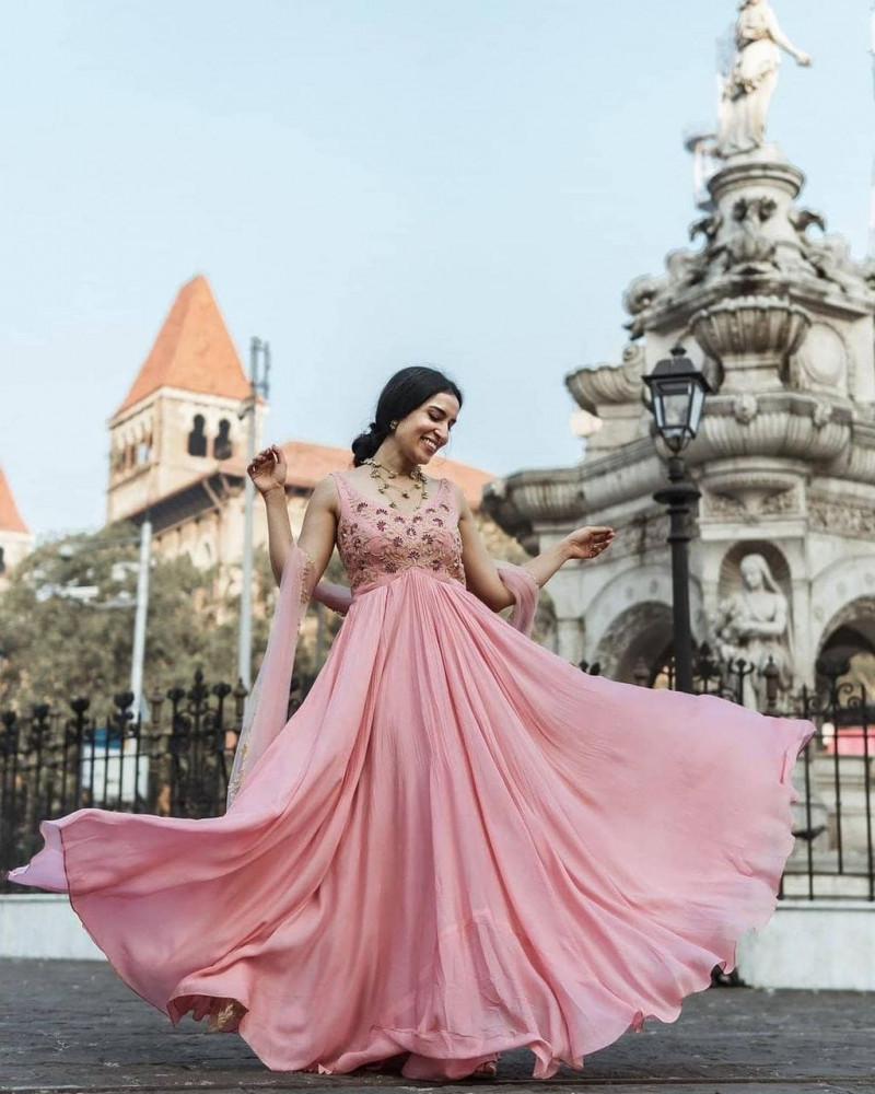 Latest Pastel Pink Party Wear Gown With Dupatta