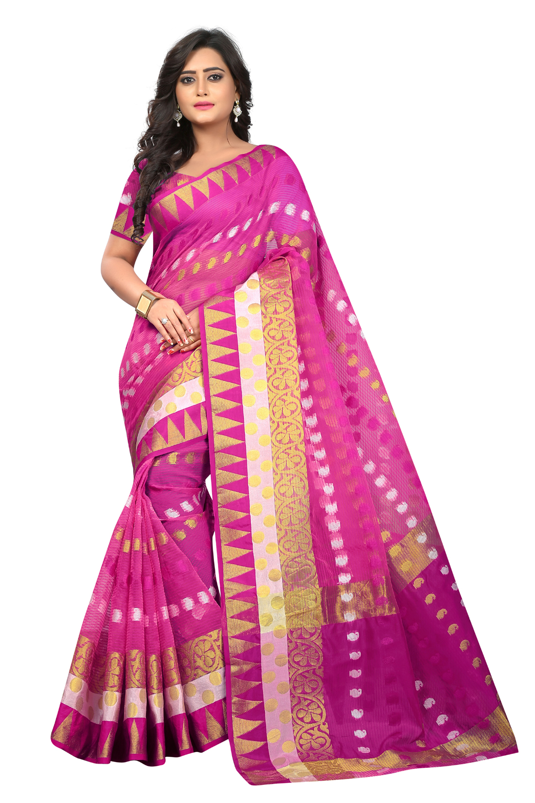 Latest PinkJacquard Saree With Blouse