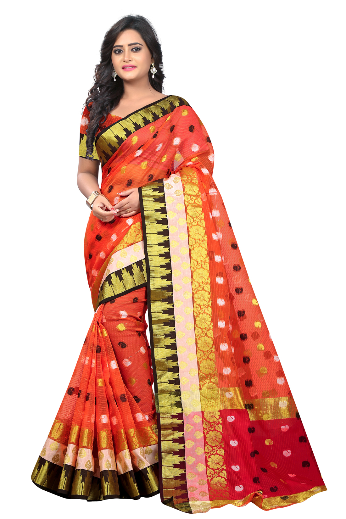 Latest OrangeJacquard Saree With Blouse