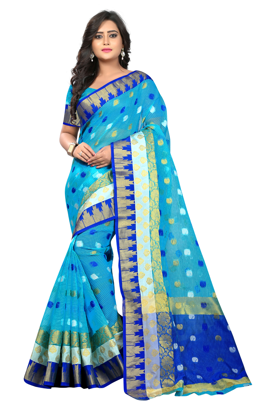 Latest BlueJacquard Saree With Blouse