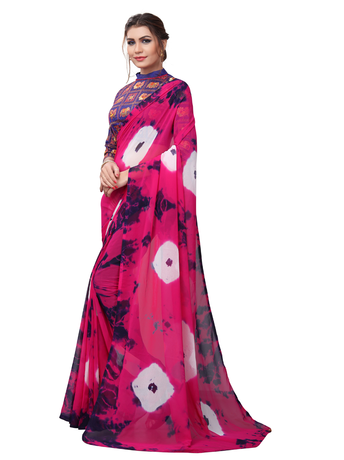 Latest Pink And Purple Georgette Printed Saree