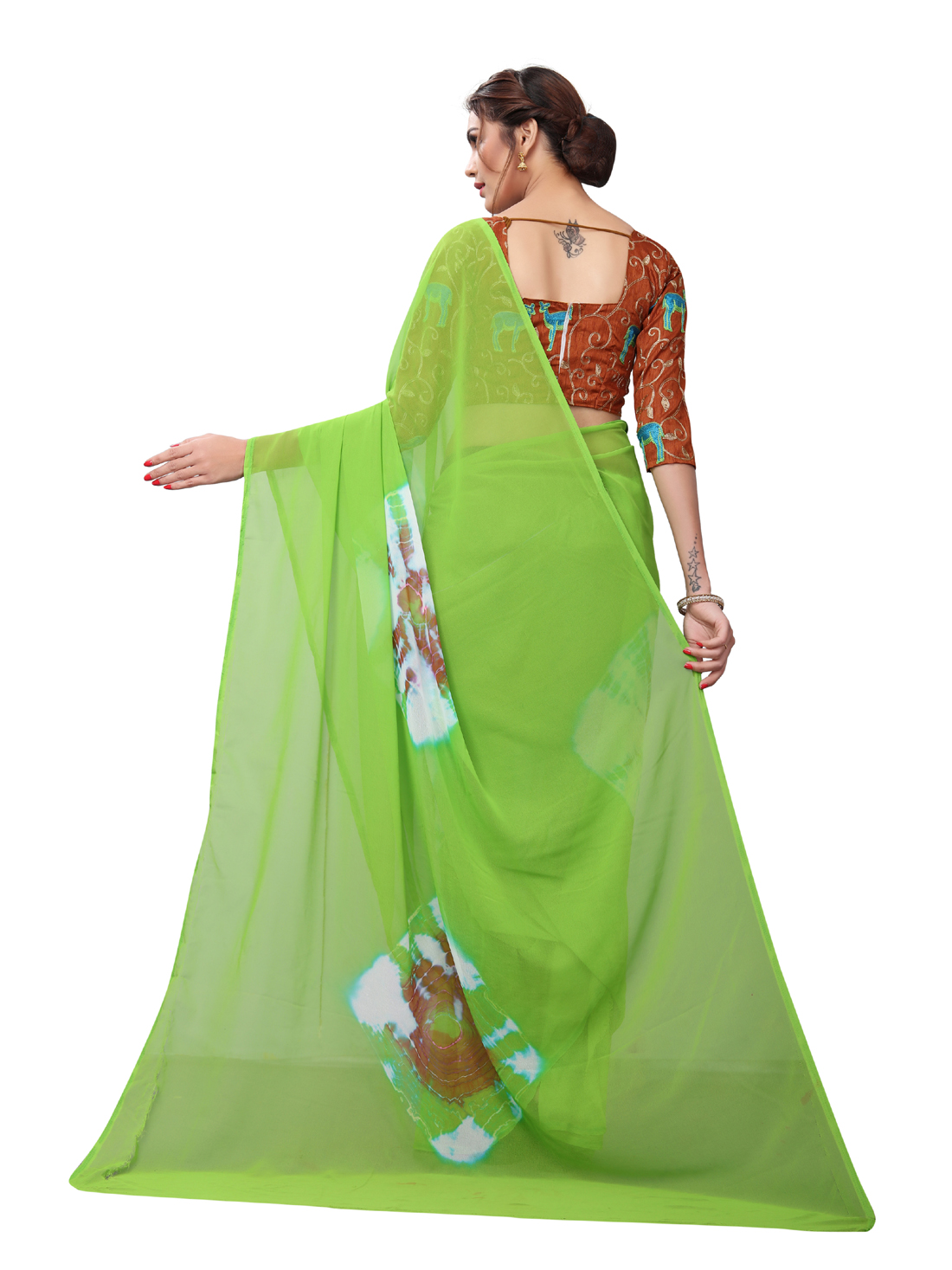 Latest Green And Brown Georgette Printed Saree