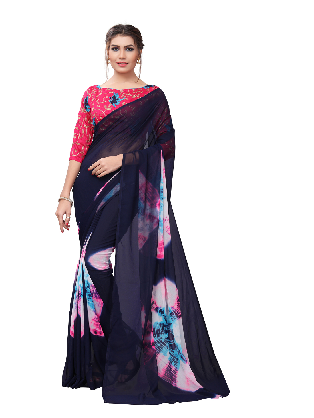 LatestBlack And PinkGeorgette Printed Saree