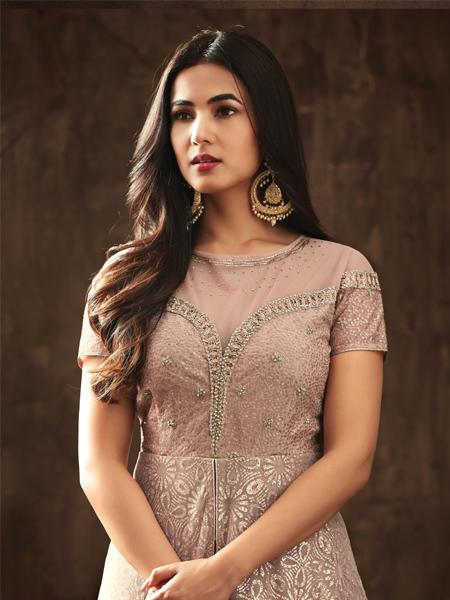 Designer Beige color Nylon net with Emb work suit