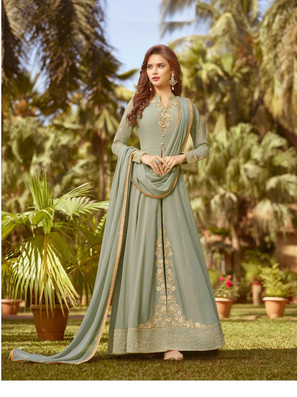 New Style Georgette Light Green Anarkali Suit With NazmeenDupatta