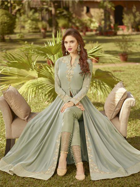 Style Light Green Anarkali Suit With Nazmeen Dupatta