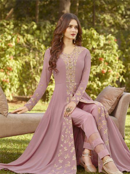 New Style Georgette Light Purple  Anarkali Suit With NazmeenDupatta