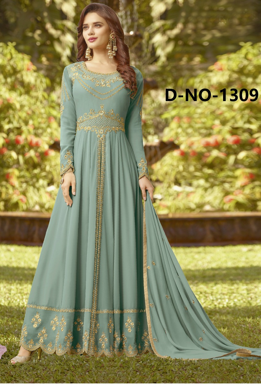 New Style Georgette Grey Anarkali Suit With Nazmeen Dupatta
