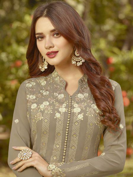 New Style Georgette Coco  Anarkali Salwar Suit With Nazmeen Dupatta