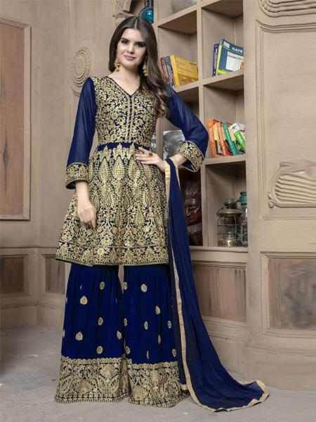 Stunning Dark Blue Colored Partywear Embroidered Sharara Suit