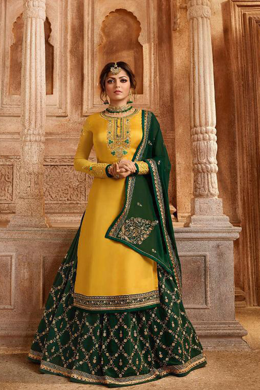 Designer Satin Georgette Yellow Plazzo Suit