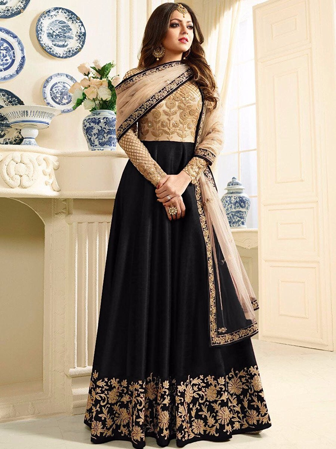 Drashti Dhami Black Banglory Silk And Net womens Semi Stitched Long Anarkali Sui
