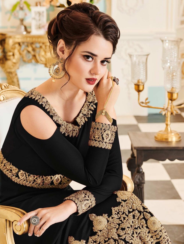 BlackGeorgette Abaya Style Anarkali Cold Shoulder Designer Suit