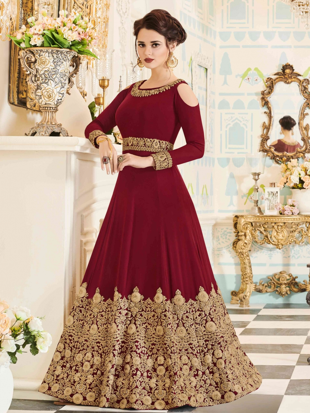 MAROON GEORGETTE ABAYA STYLE ANARKALI COLD SHOULDER DESIGNER SUIT