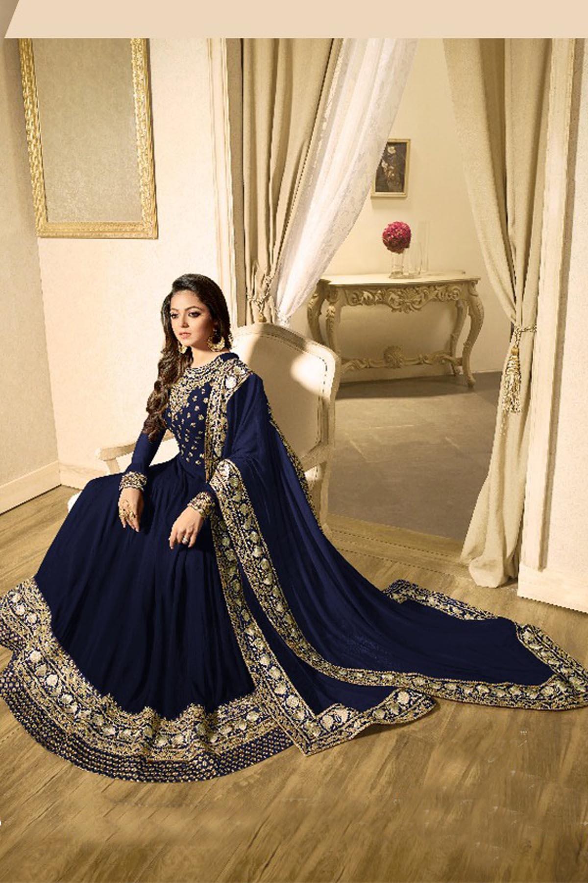 Faux Georgette Blue Color Anarkali Suit