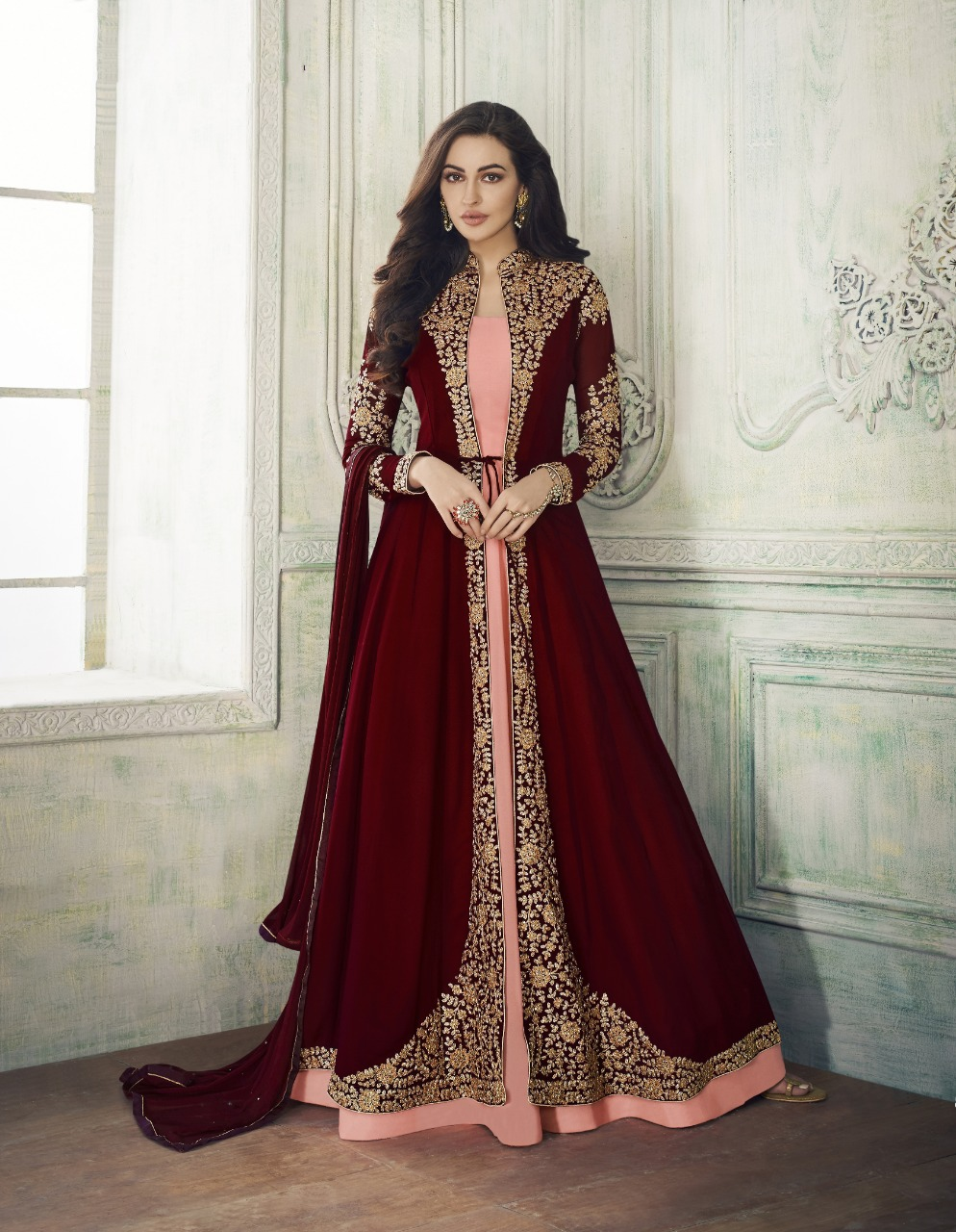 Demanding Maroon Color Party Wear Embroidered Georgette Anarkali Suit