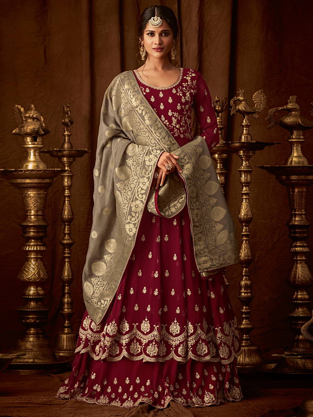 Beautiful Maroon Color FOX Georgette Embroidery Suit