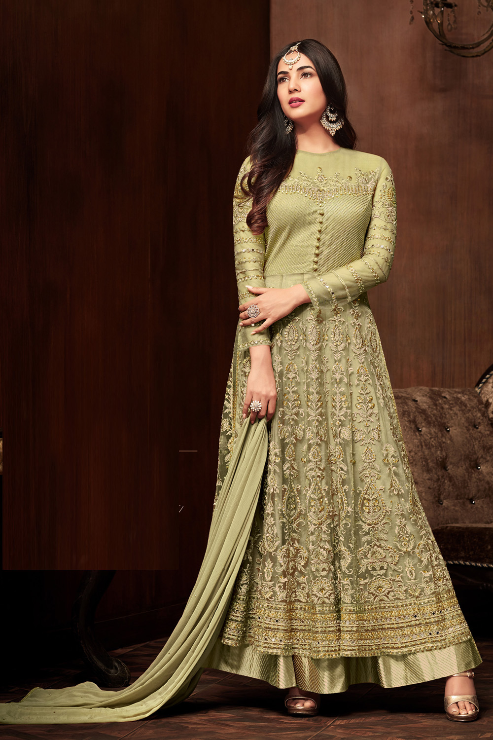 Sonal  Chauhan Holly Green Color Net Embroidery party wear suit