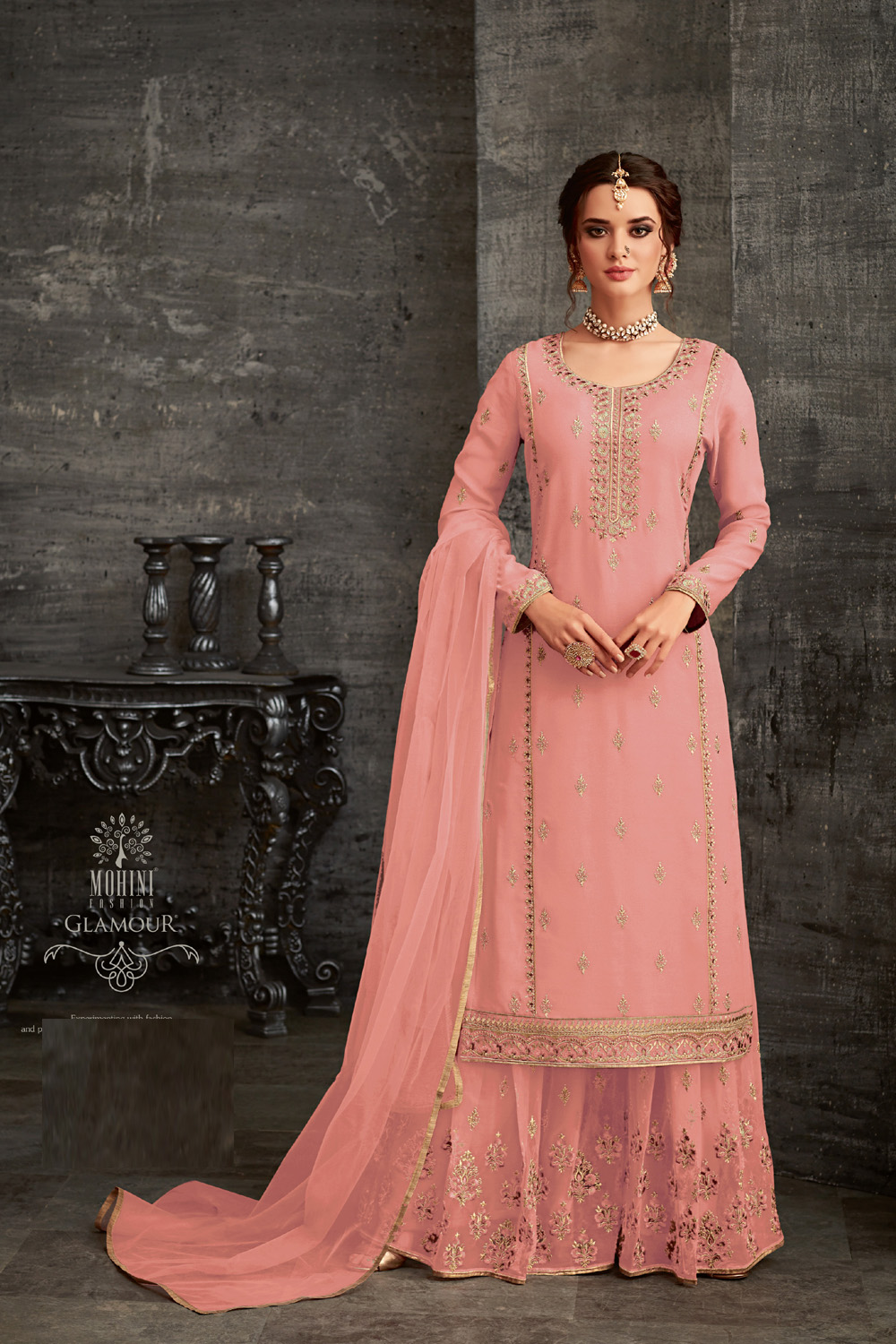 Mohini Pink color Net Embroidery party wear suit