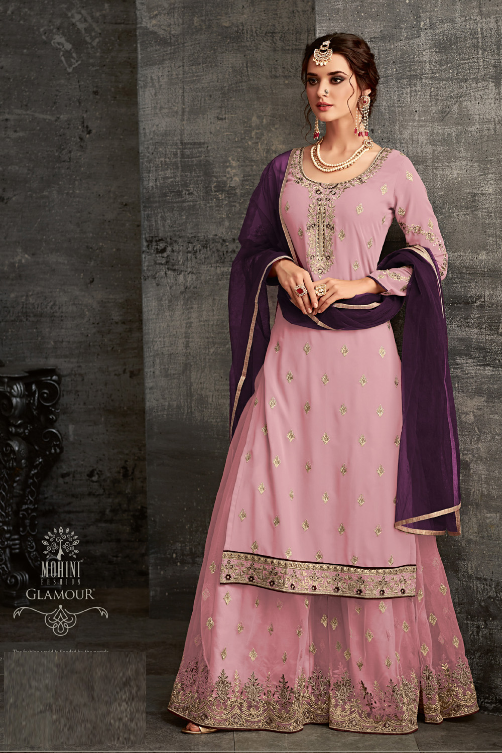 Mohini Pink Color Net Embroidery Party Wear Suit 2020