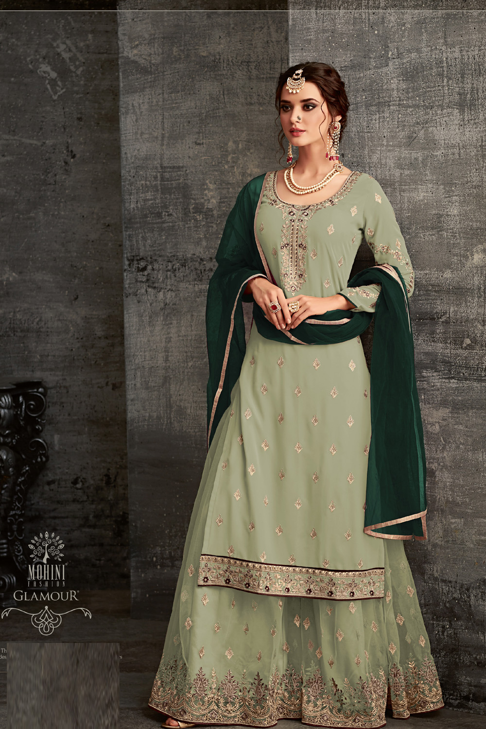 Mohini Pista color Net Embroidery Glowing party wear suit