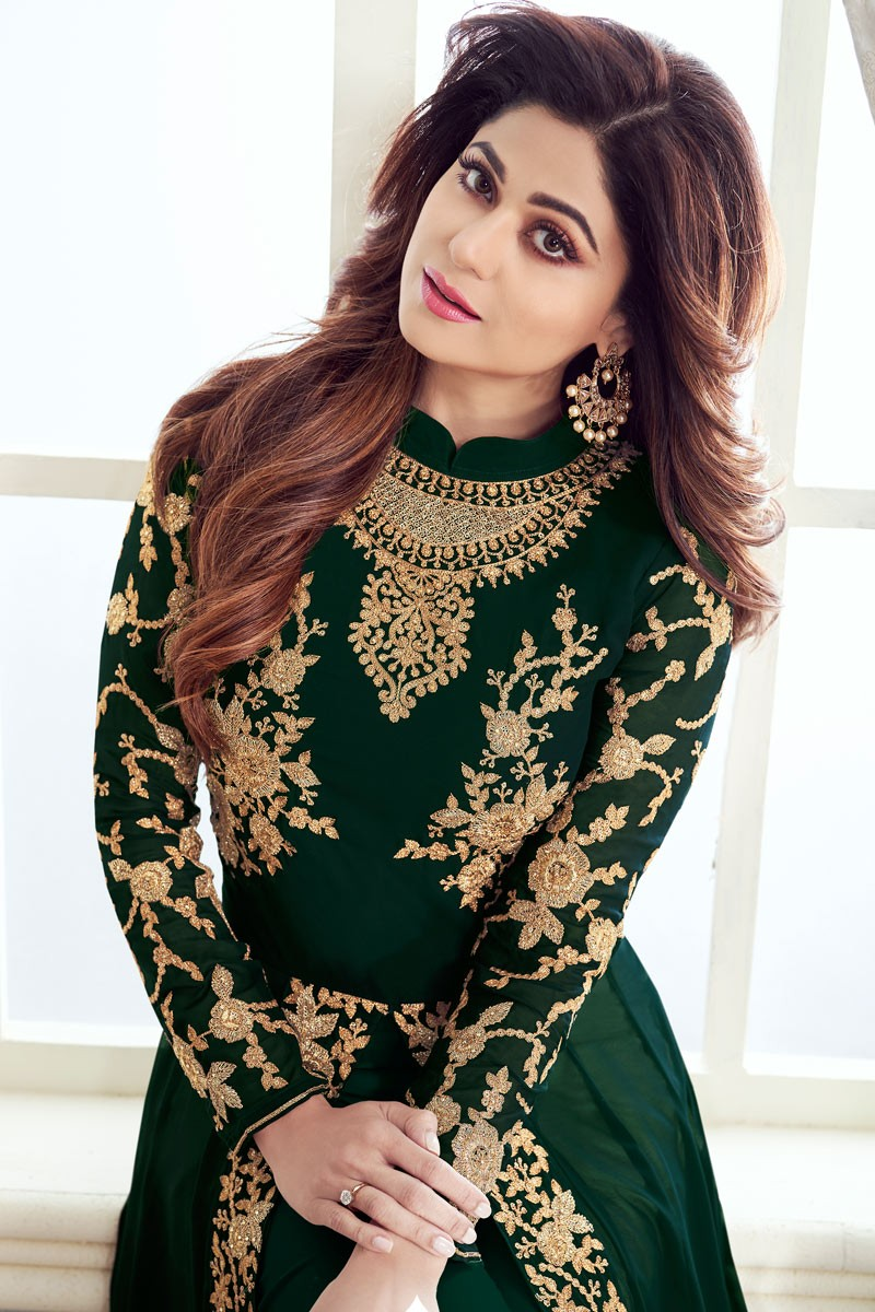 Pleasant   Embroidery Party Wear  Green Color Suit