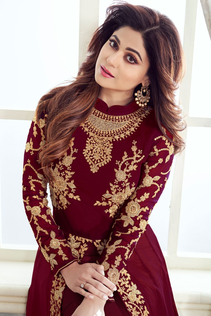 Sophisticated Red  Color Party Wear Georgette  Suit