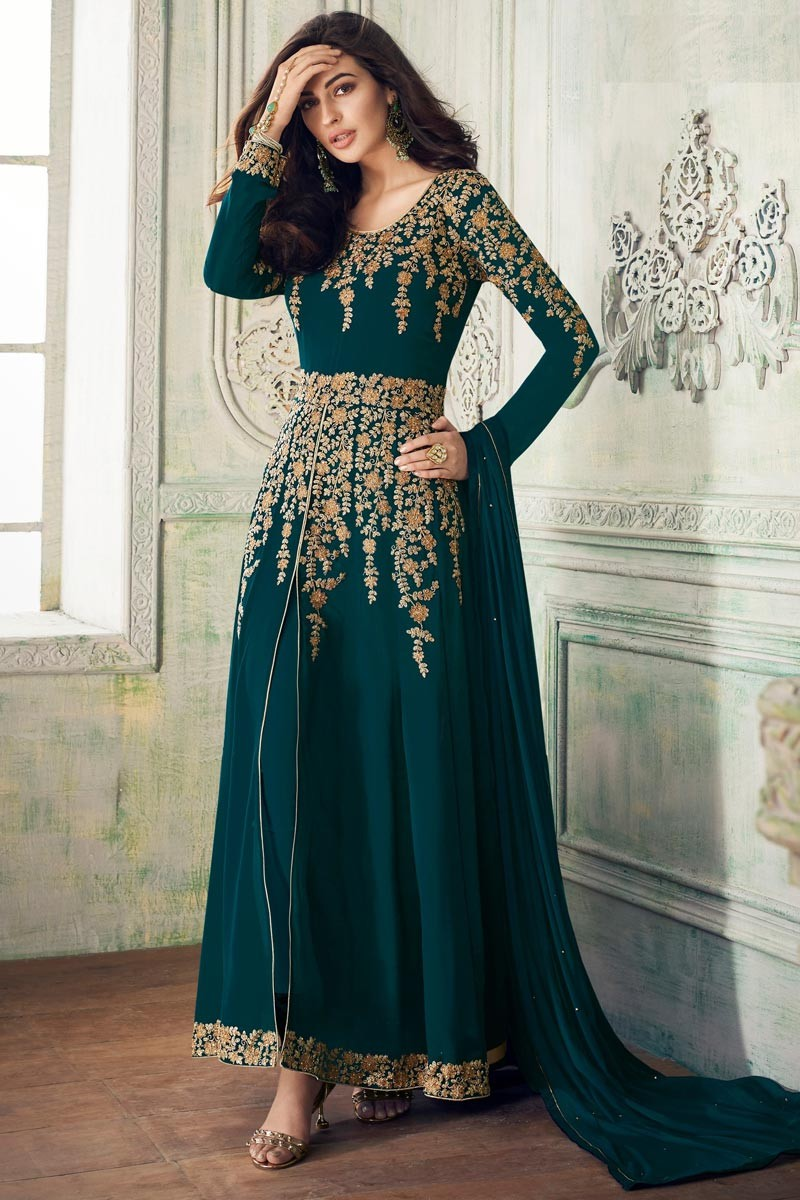 Sophisticated  Party Wear Georgette Morpankh Color  Suit