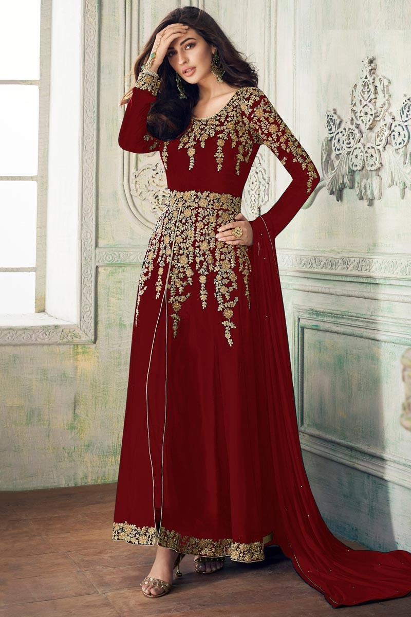 Fantastic Georgette Red Color  Party Wear Suit