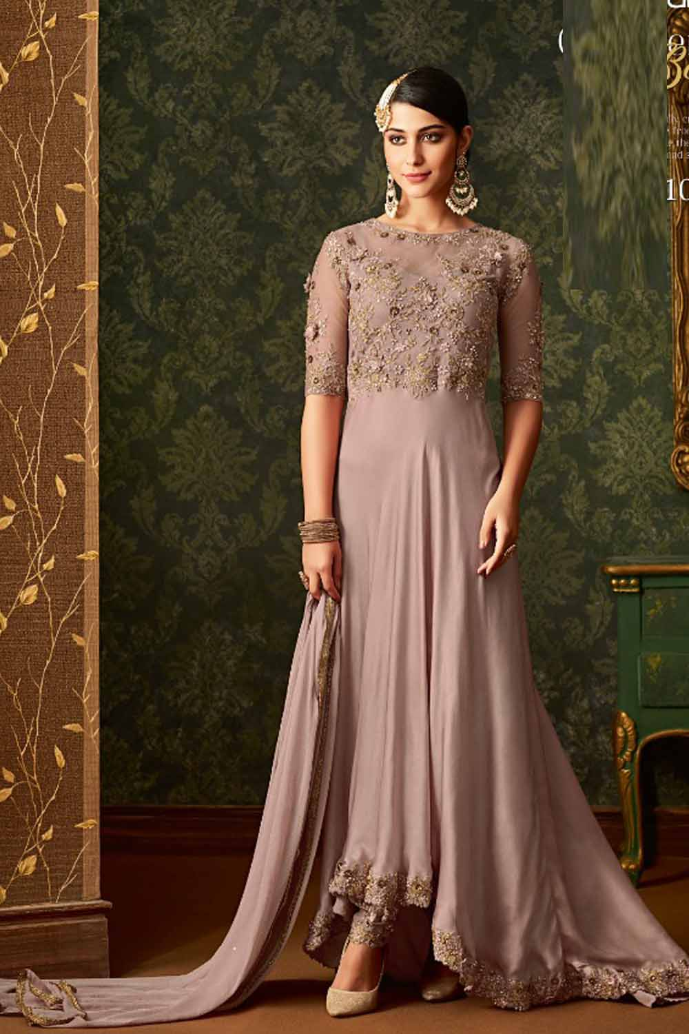 Attractive Light Purple color Heavy net Georgette Suit