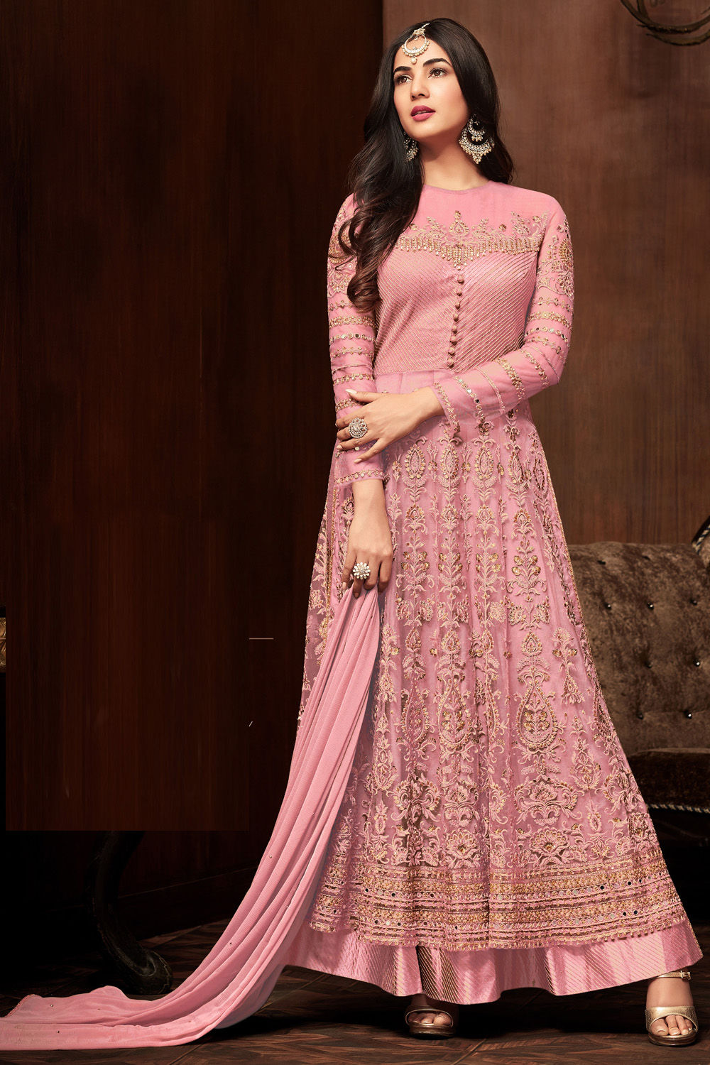 Sonal  Chauhan Pink  Color Net Embroidery party wear suit