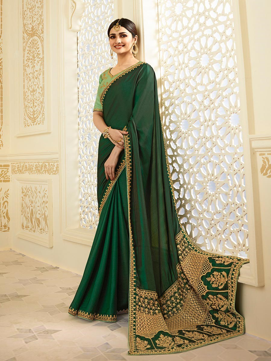 Women  Prachi Desai Silk Green Embroidered