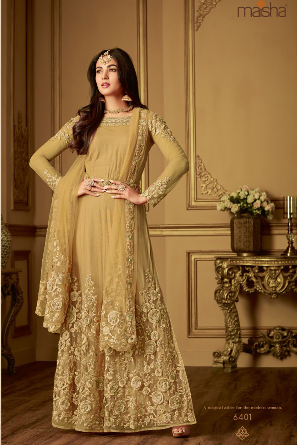 Sonal ChauhanYellow Heavy Net With Embroidered Straight Long Anarkali Suit