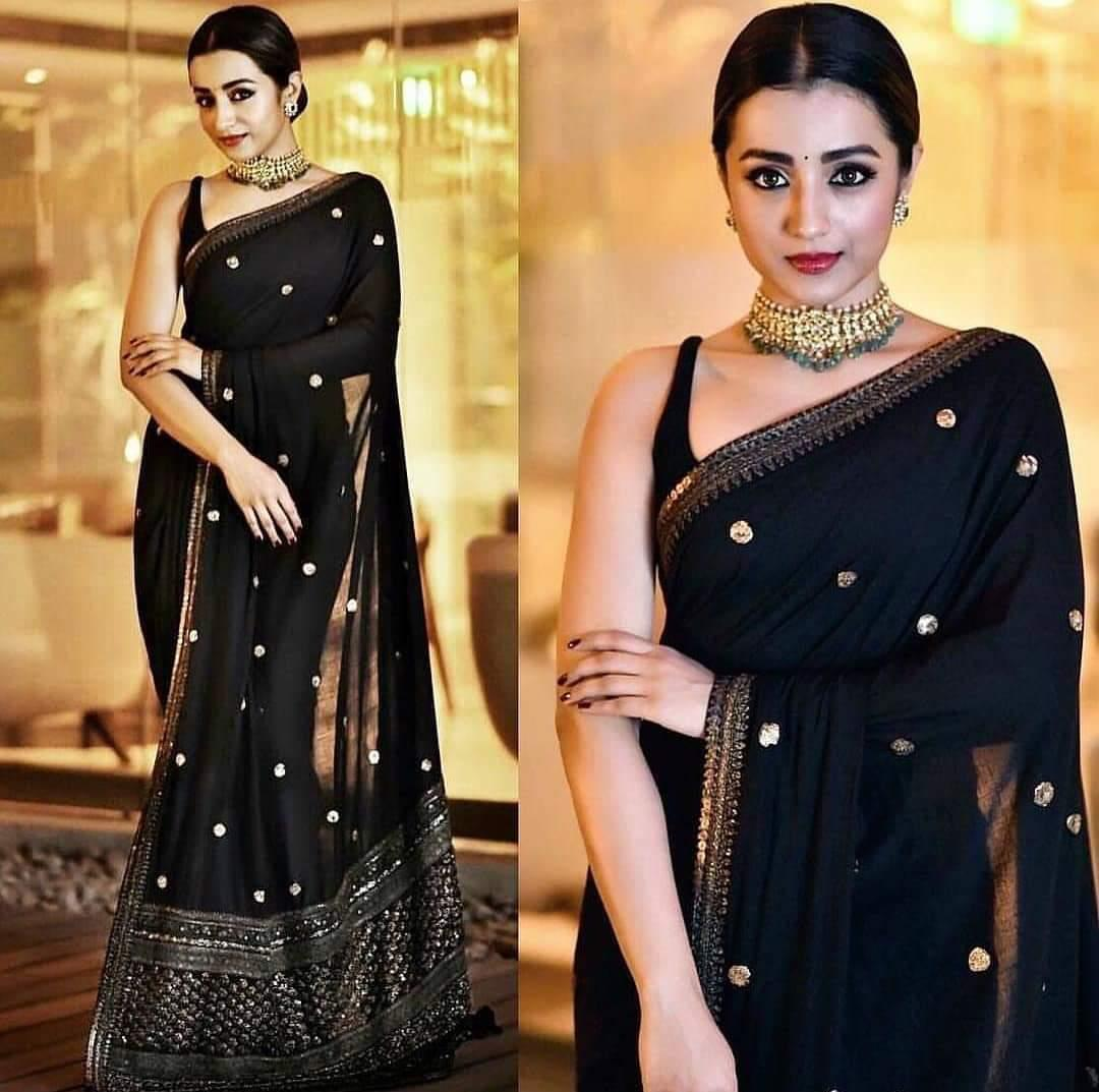 Trisha Krishnan Black Color Georgette Party Wear Saree