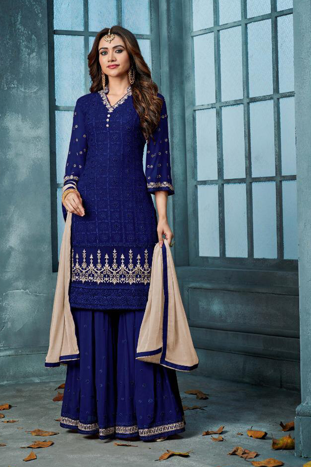 Demanding Blue Color Partywear Embroidered Faux Georgette Palazzo Suit